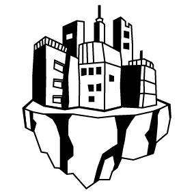Logo des Kollektivs Raumstation: Stadt auf einem kleinen schwebenden Planeten